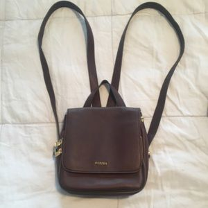 Fossil leather mini backpack